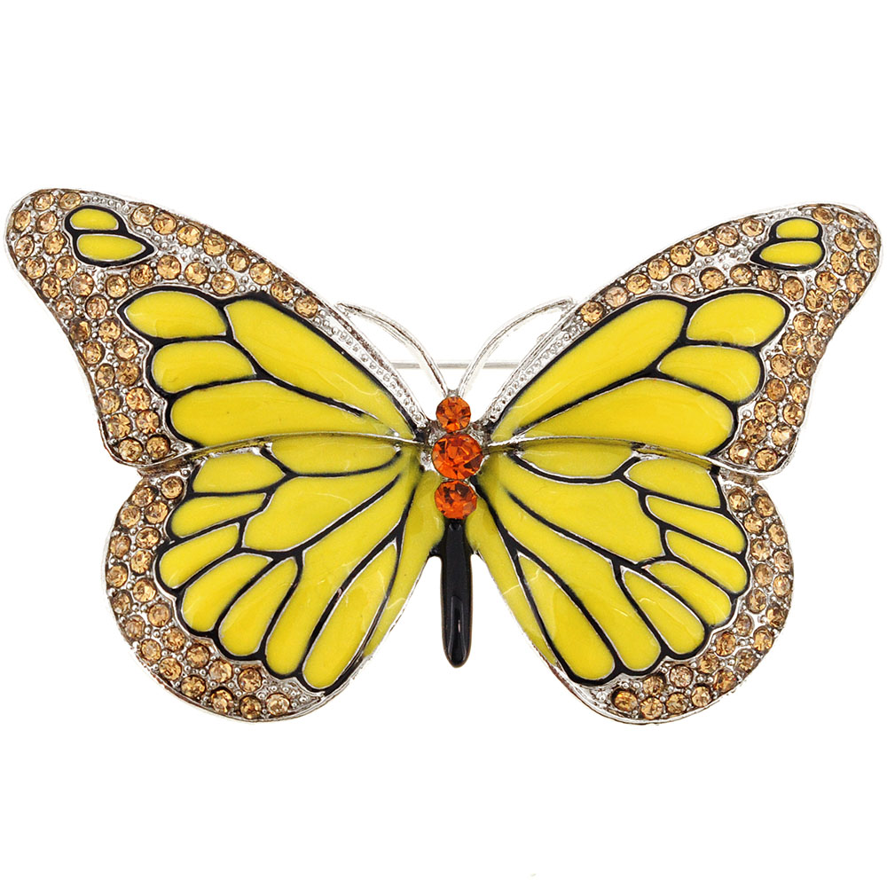 Yellow Monarch Butterfly Crystal Pin Brooch by