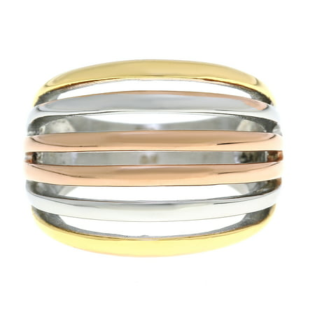 Metro Jewelry Stainless Steel Ring with Gold and Rose Ion Plating