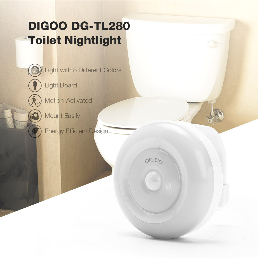 4X Body Sensing Automatic 8 Color LED Motion Sensor Toilet Bowl Night Light Lamp