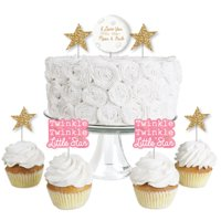 Pink Twinkle Little Star - Dessert Cupcake Toppers - Baby Shower or Birthday Party Clear Treat Picks - Set of