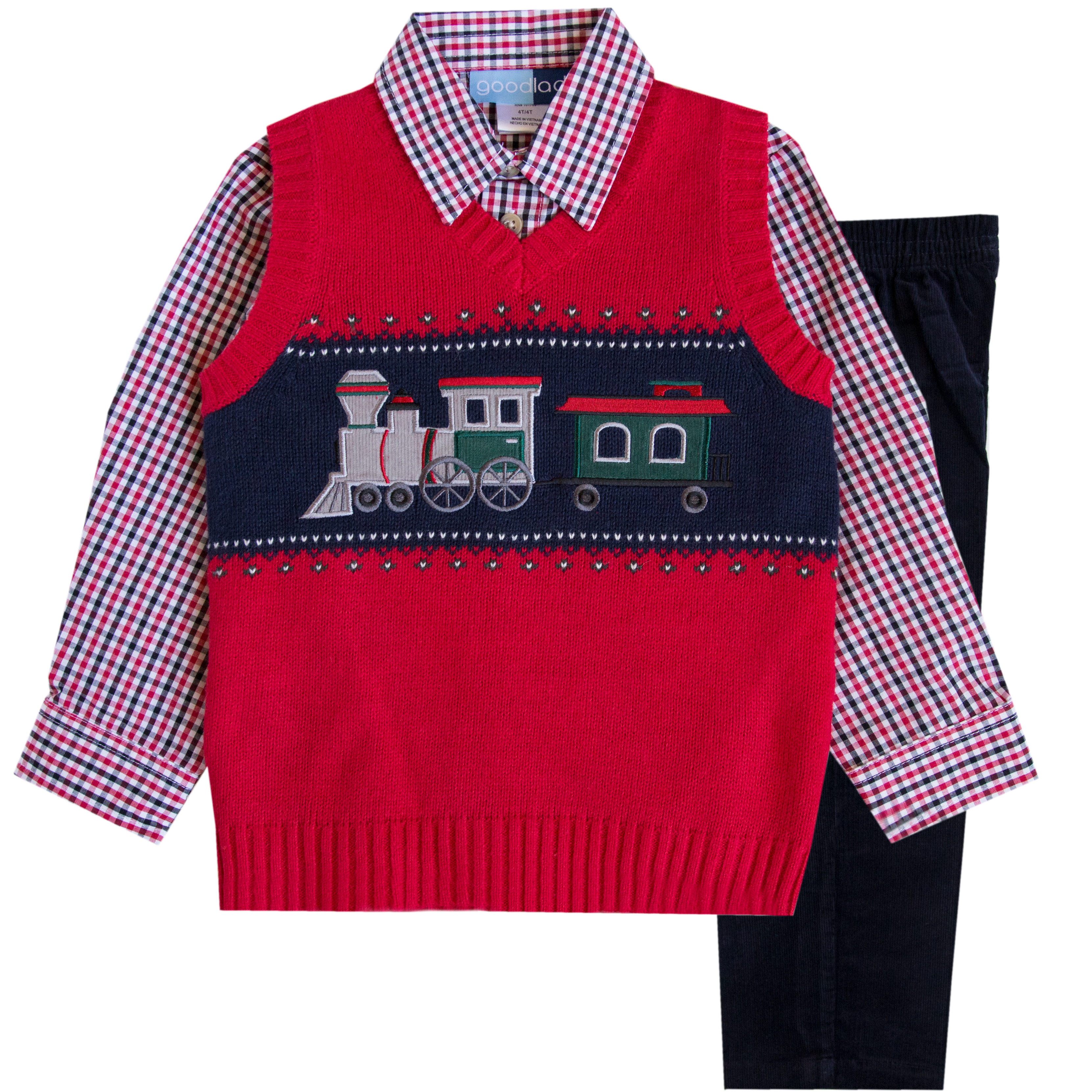 Good Lad Toddler Boys Three Piece Red Train Motif Sweater Vest Set