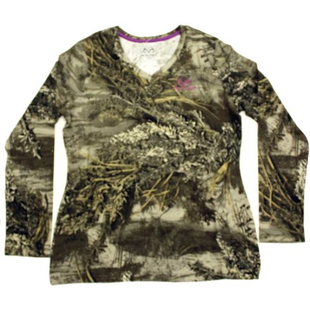 Realtree Women's Long Sleeve Camo Tee, Realtree Max 1XT