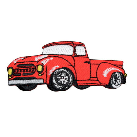 Vintage Classic Red 1950's Truck Iron on Embroidered Patch ()