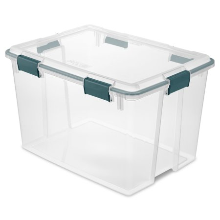 Sterilite 80 Qt Gasket Box-Teal Rain, Clear Bottom & Lid
