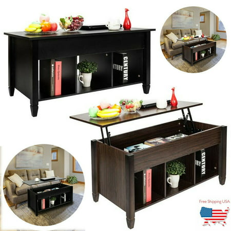 New Arrival [US-W]Lift Top Coffee Table Modern Furniture Hidden Compartment And Lift Tabletop Black
