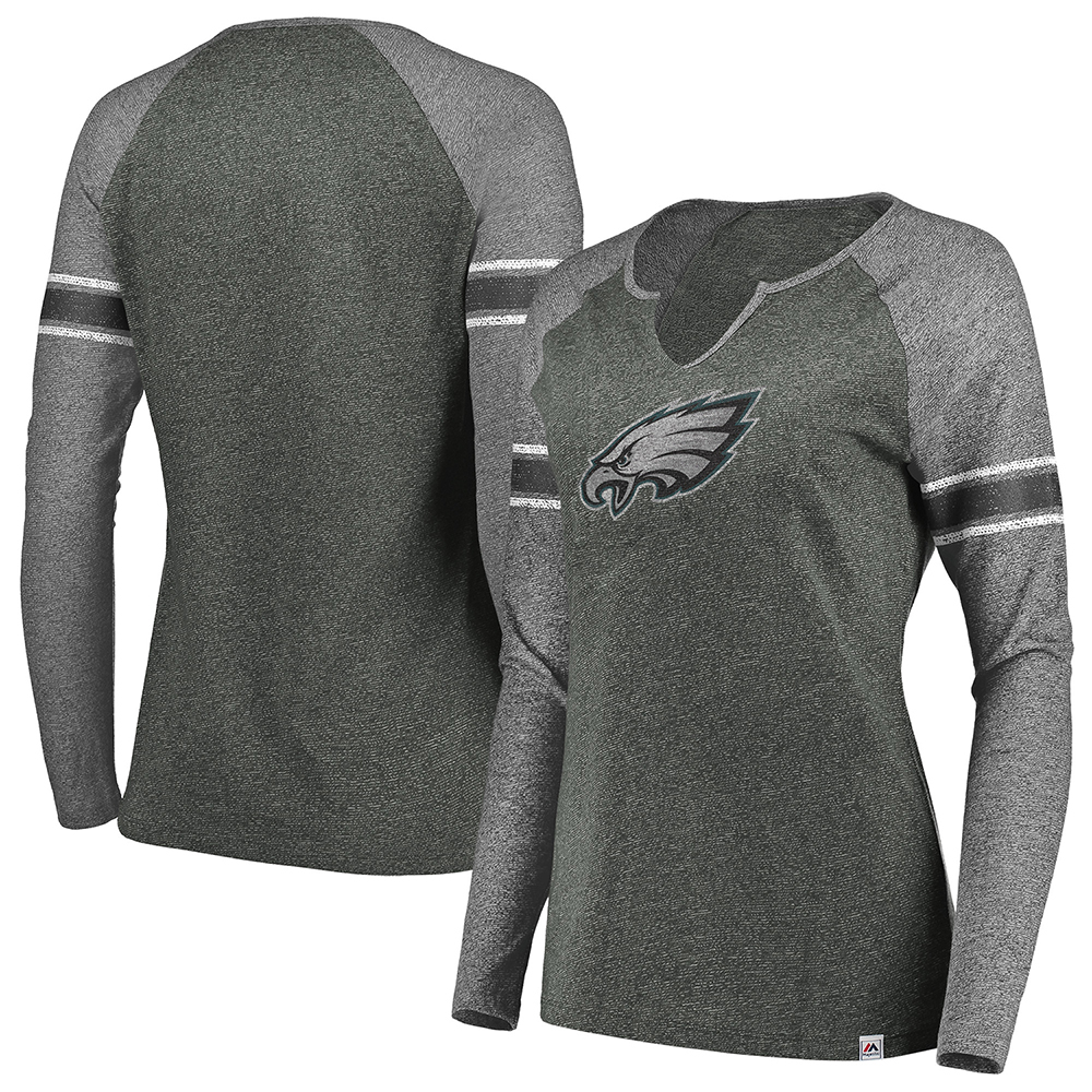 Philadelphia Eagles Majestic Women's Static Raglan Long Sleeve V-Notch T-Shirt - Charcoal/Charcoal