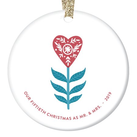 "50th Christmas as Mr & Mrs Ornament 2019 Fifty 50 Years Together Married Gift Fiftieth Golden Anniversary Present Parent Grandparent Heart Tree Decoration Glossy 3"" Flat Circle Gold Ribbon OR00755-50 ()"