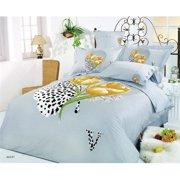 Le Vele LE59Q 6 Piece Queen Bed Modern Bedding Floral Duvet Cover Set , Hayat