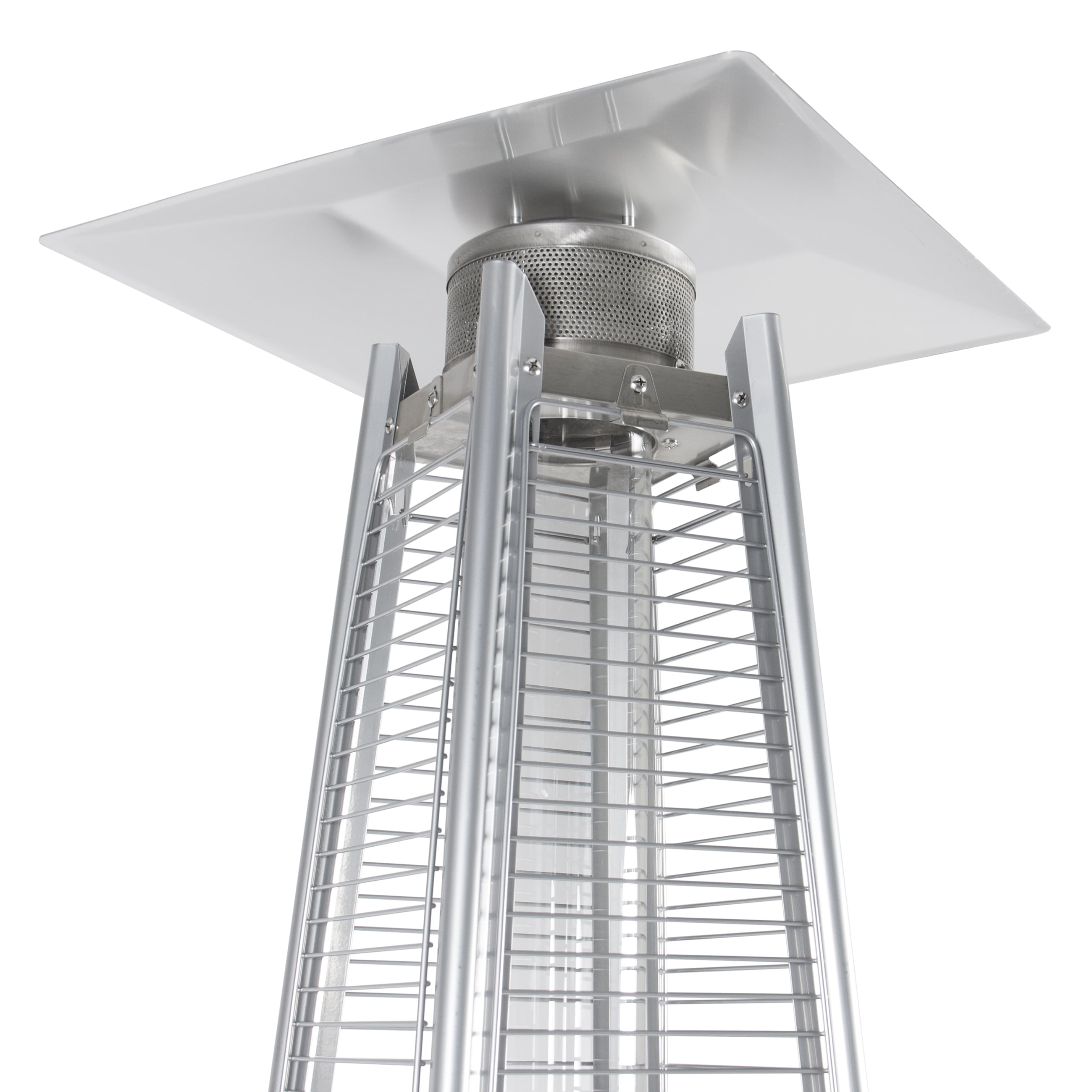 42,000 BTU Stainless Steel Patio Heater Outdoor Pyramid Propane Glass Tube  Dancing Flames   Walmart.com