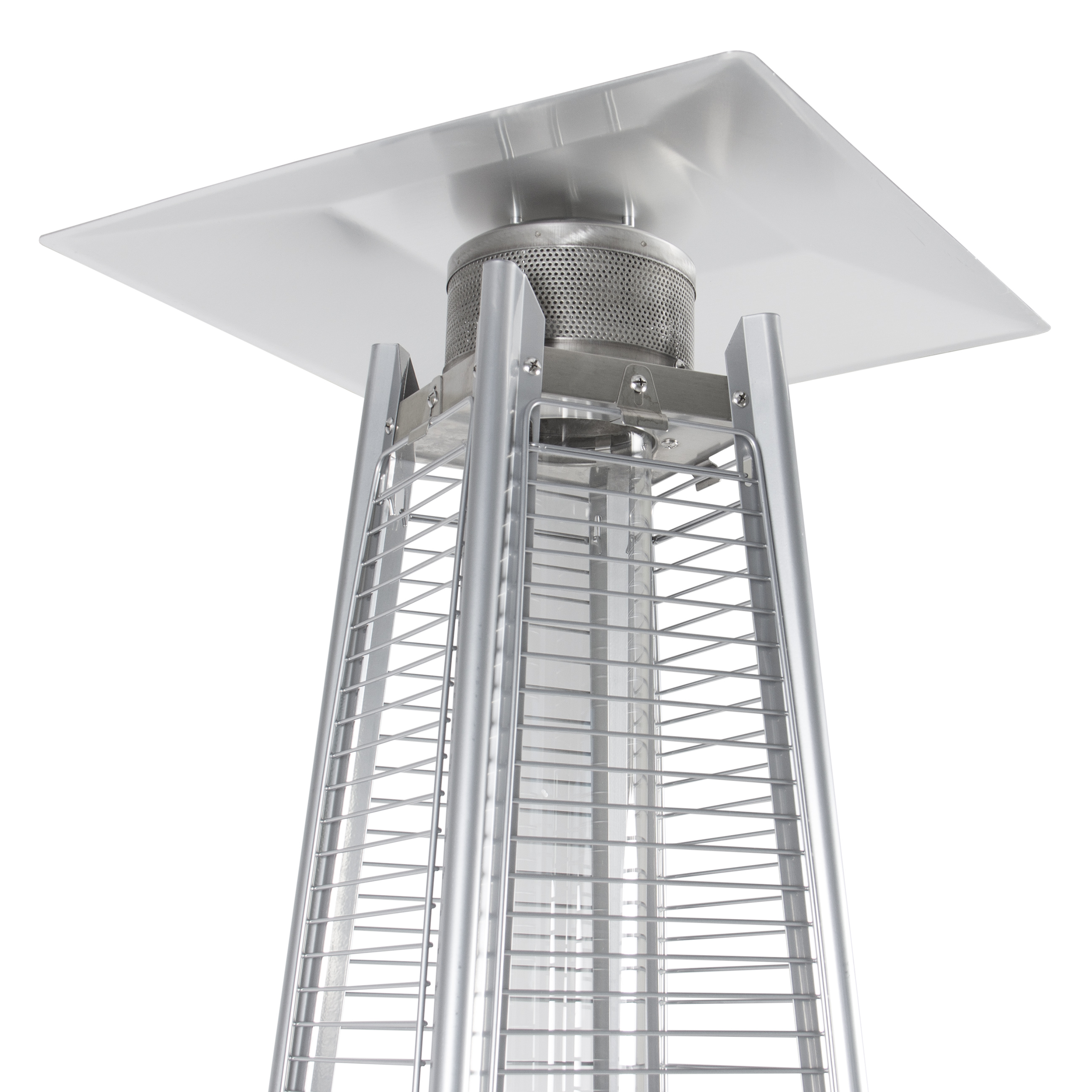btu stainless steel patio heater outdoor pyramid propane glass tube dancing flames walmartcom