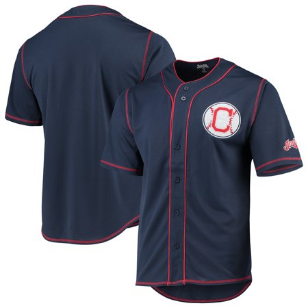 Cleveland Indians Stitches Team Color Button-Down Jersey - Navy/Red