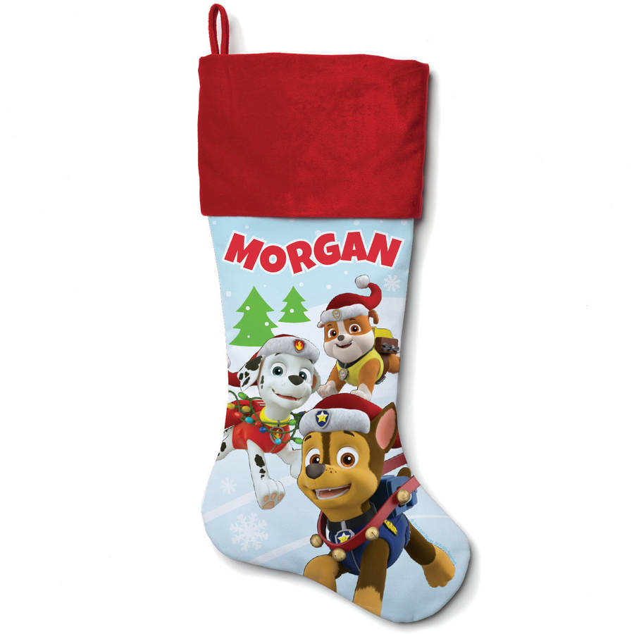 Personalized Paw Patrol Holiday Pups Red Cuff Stocking