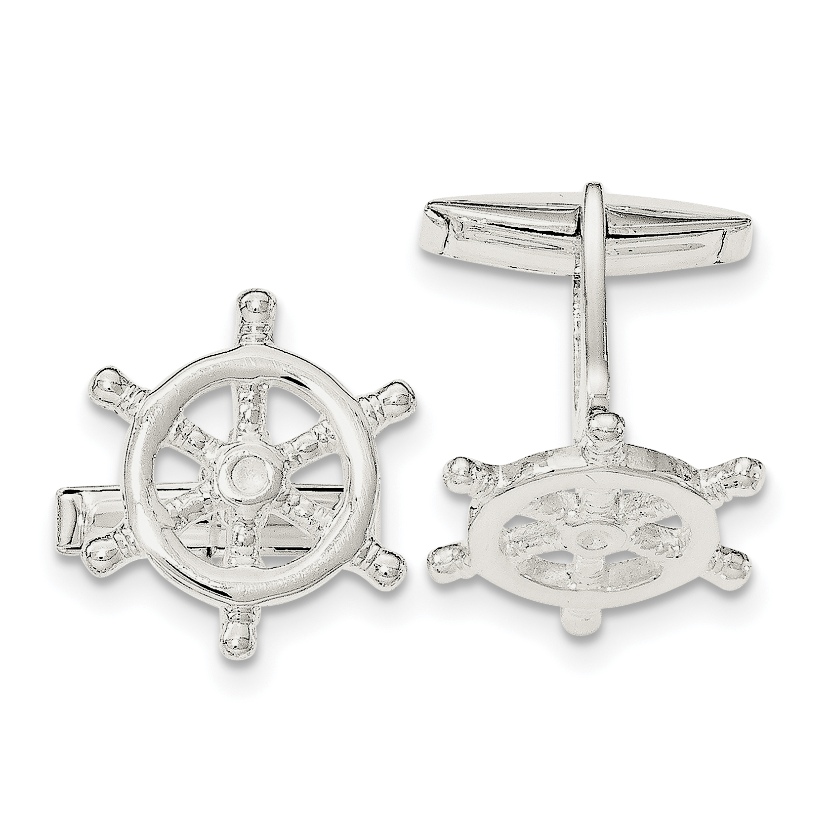 Sterling Silver Captains Wheel Cuff Links