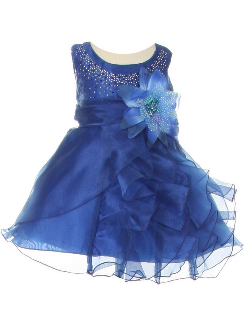 Baby Girls Royal Blue Organza Cascade Ruffle Dress 6-24M