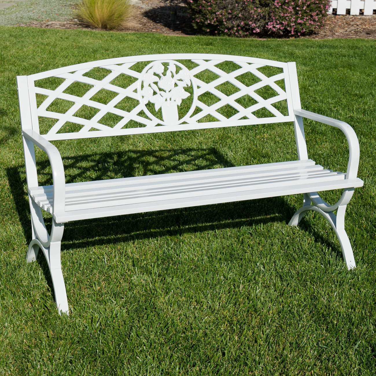 "Belleze 50"" inch Outdoor Park Bench Garden Backyard Furniture Chair Porch Seat, White by Belleze"