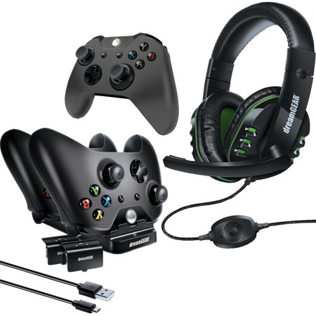 dreamGEAR Xbox One Advanced Gamer's Starter Kit - Headset, Charging Dock, Rechargeable Batteries, USB Charge Cable, Controller Cover & Joystick