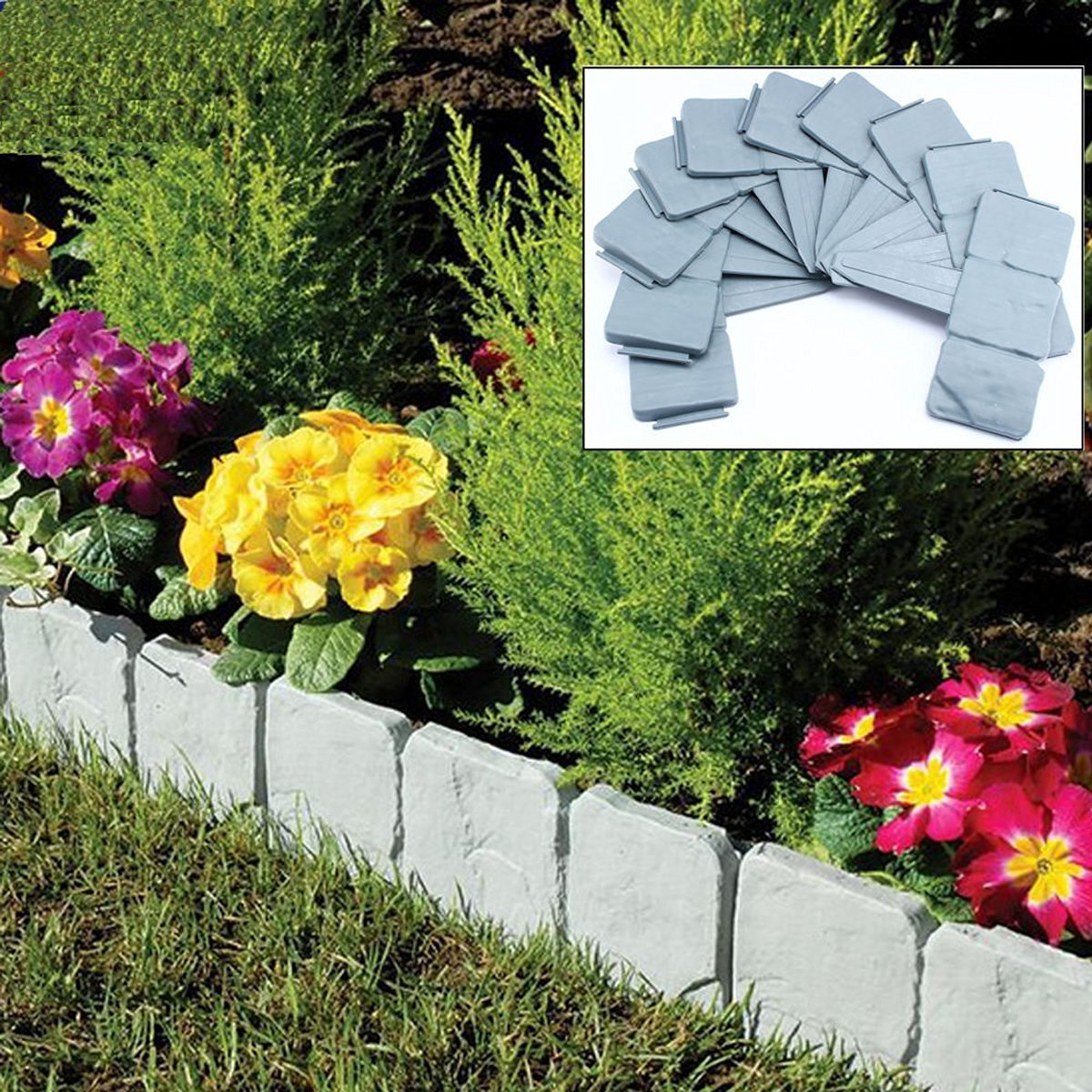 10 PCS Spring Yard Lawn Garden Plastic Faux Stone Patio Border Edging Fence  US