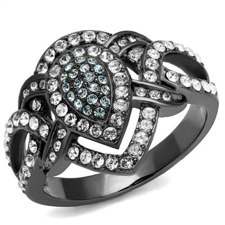 Clear Crystal Cocktail Ring - Light Black Stainless Steel Clear & Aqua Crystal Cocktail Ring Women's Size 6