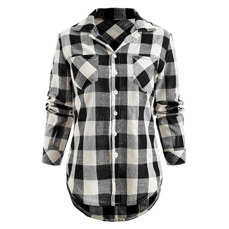 Women Casual Loose Plaid Button Down Shirts Long Sleeve Top Blouse Jacket ()