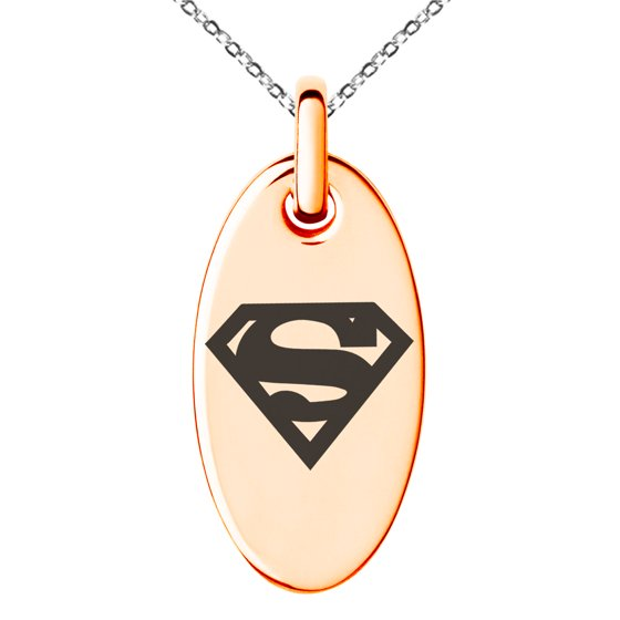 Stainless Steel Dc Superman Logo Engraved Small Oval Charm Pendant