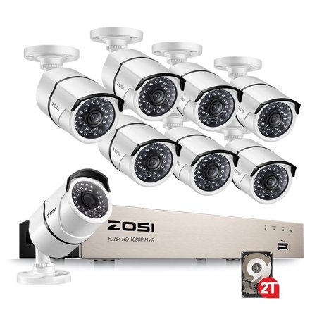 ZOSI Full HD 1080P PoE Video Security Cameras System,8CH 1080P Surveillance NVR, 8x2.0 Megapixel Outdoor Indoor Weatherproof IP Cameras, 120ft Night Vision with 2TB Hard Drive, Power over Ethernet ()