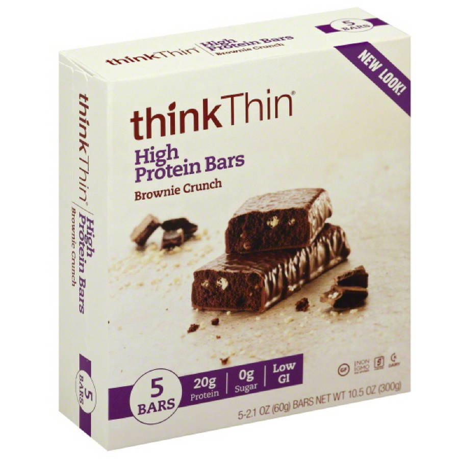 thinkThin Brownie Crunch High Protein Bars, 5 count, 10.5 oz, (Pack of 6)