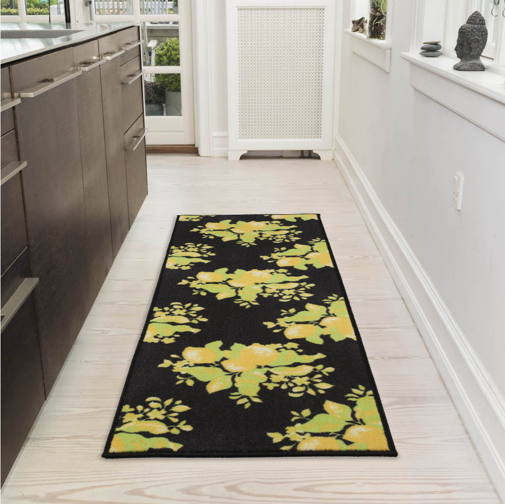 "Ottomanson Lemon Collection Contemporary Black Lemons Design Runner Rug with (Non-Slip) Kitchen and Bathroom Mat, Black, 20"" X 59"""