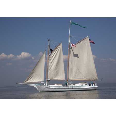 Joshua is a classic 72-foot wooden schooner sailing on Mobile Bay Alabama In 2009 Joshua was designated the official Tall Ship of the State of Alabama Poster Print by Carol - Tall Poster