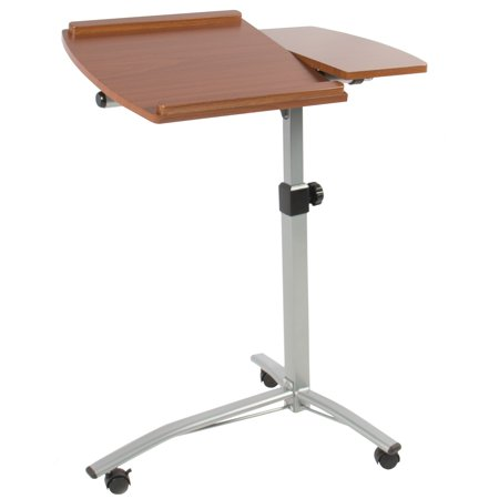 Best Choice Products Angle and Height Adjustable Mobile Laptop Desk Rolling Cart Stand w/ Locking Swivel Casters, 2 Shelves, Slide Stoppers - Brown