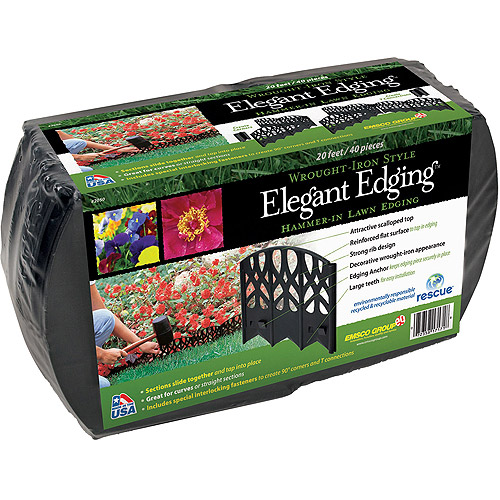 Emsco Group 3020HD 20' Elegant Edging - Hammer-In Edging, Wrought Iron Design, Black