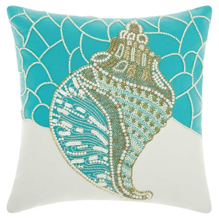 Nourison Beaded Conch Shell Turquoise Outdoor Throw Pillow