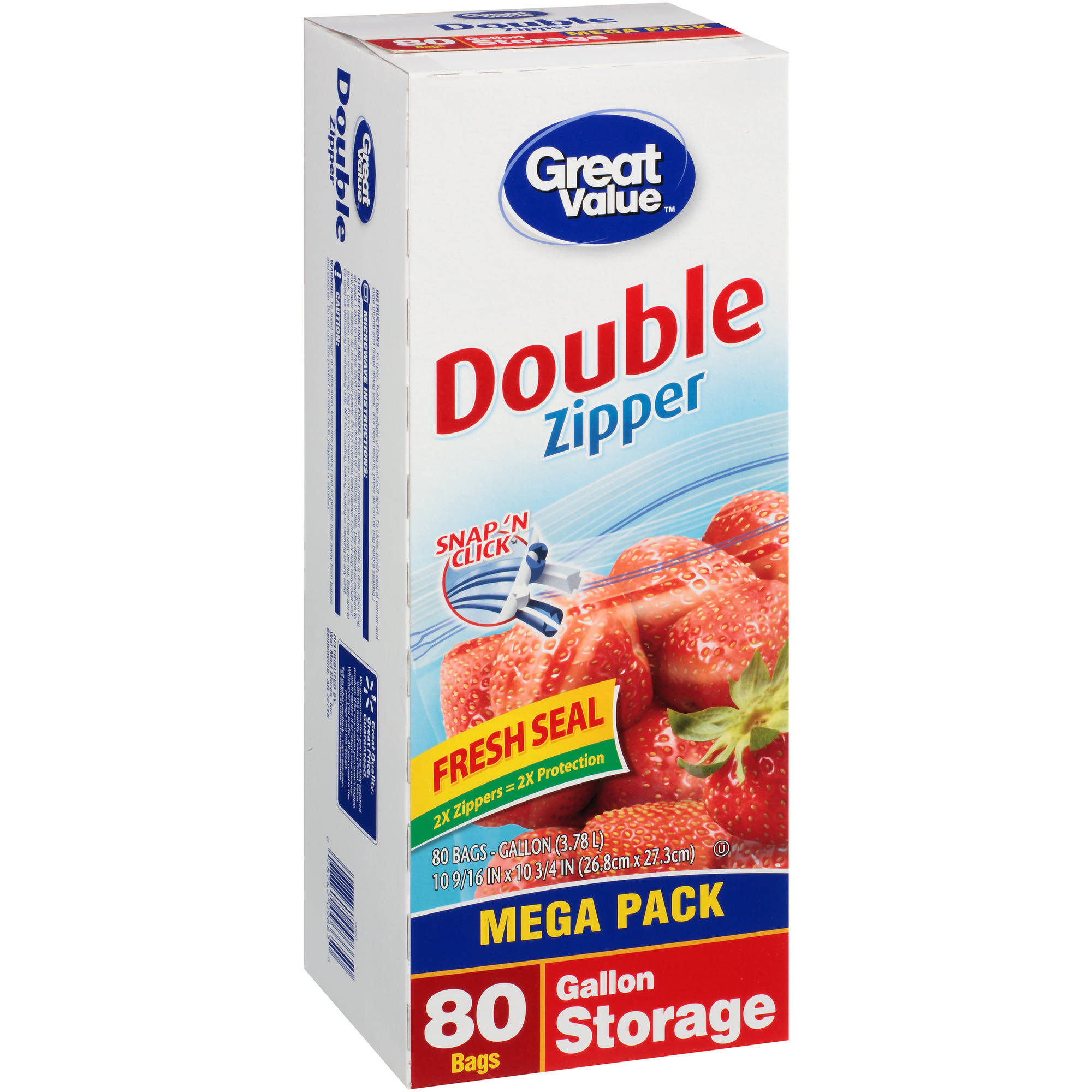 Great Value Double Zipper Gallon Size Storage Bags, 80 count