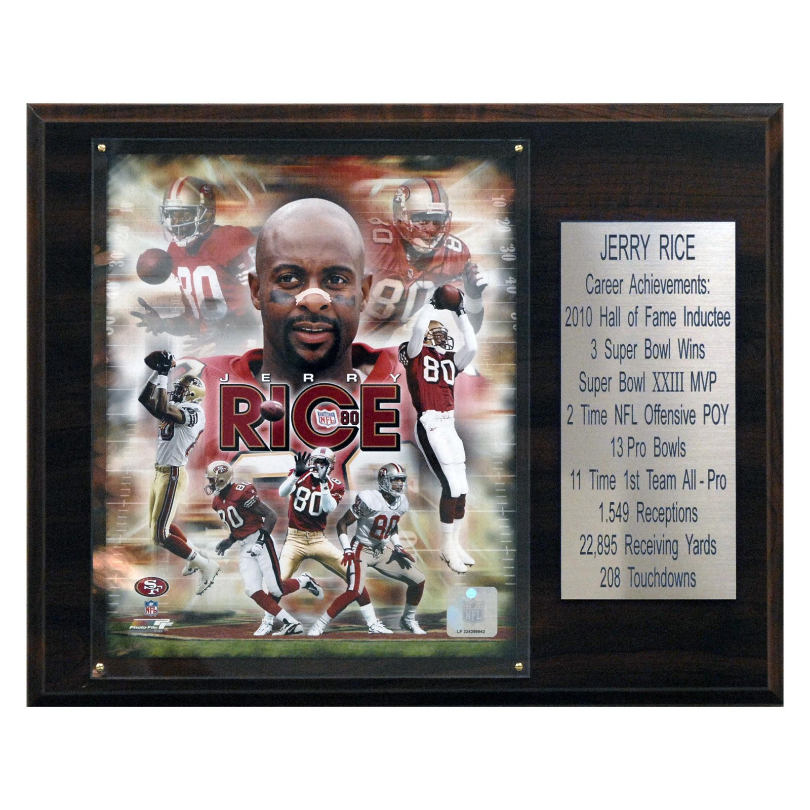 C&I Collectables NFL 12x15 Jerry Rice San Francisco 49ers Career Stat Plaque