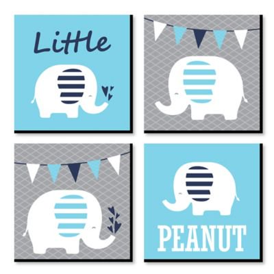 "Blue Baby Elephant - Nursery Decor - 11"" x 11"" Nursery Wall Art - Set of 4 Prints for Baby's Room](Elephant Nursery Decor)"