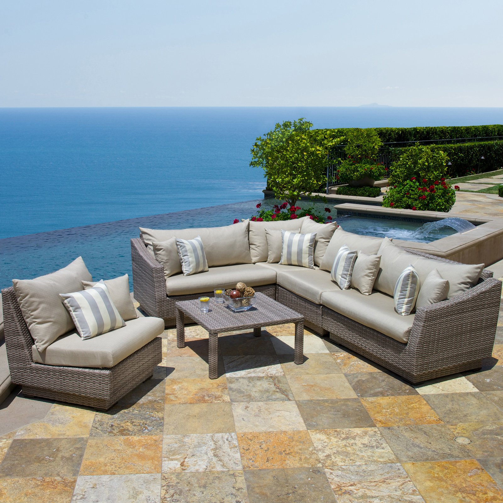 RST Brands Cannes Slate 6 Piece Corner Sectional Set