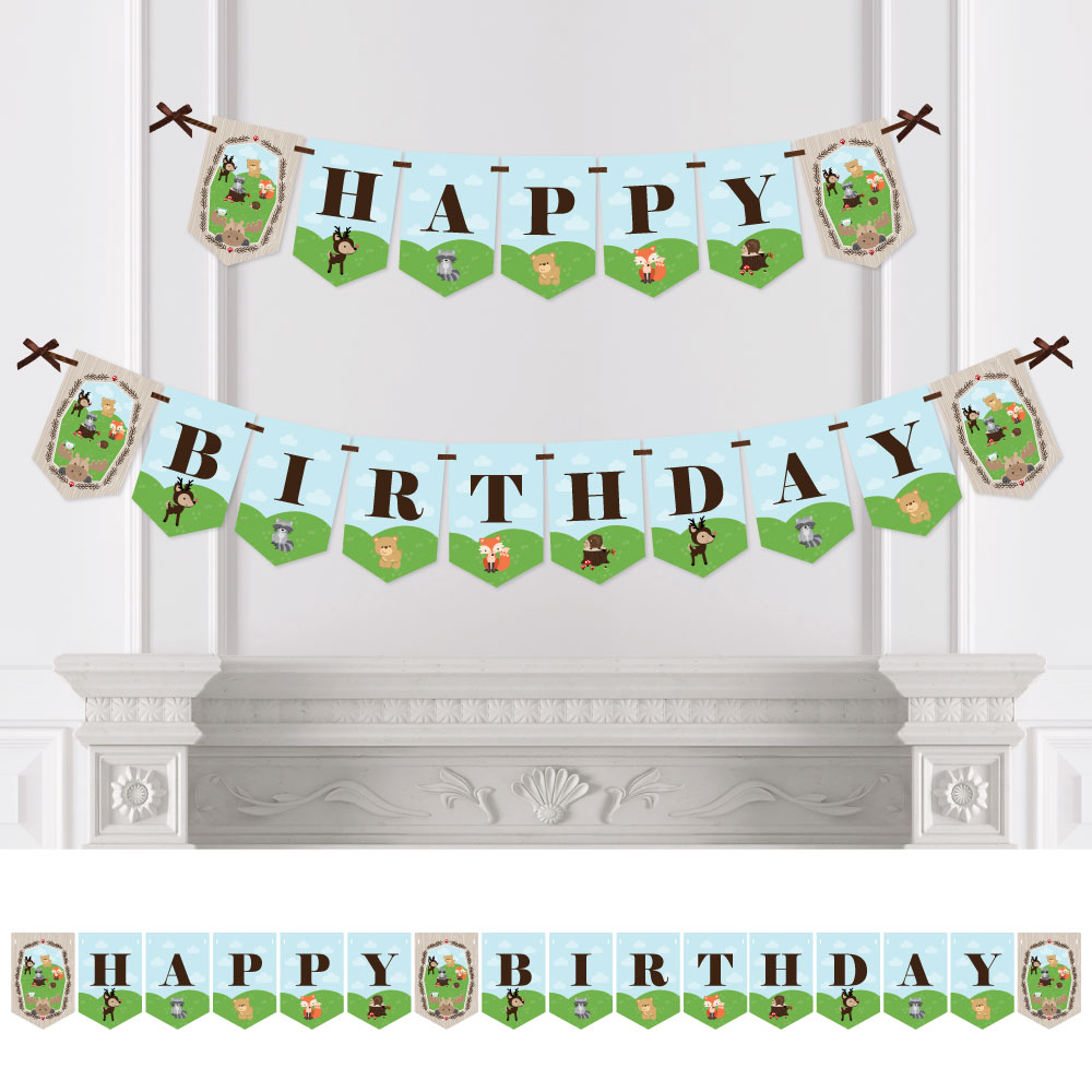 Woodland Creatures - Birthday Party Bunting Banner - Forest Friends Party Decorations - Happy Birthday