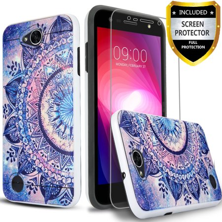 LG Fiesta 2 Phone Case, LG X Power 2 Case, LG Fiesta LTE Case, LG X Charge Case, 2-Piece Style Hybrid Shockproof Hard Cover with [HD Screen Protector] And Circlemalls Stylus Pen Mandala Floral…