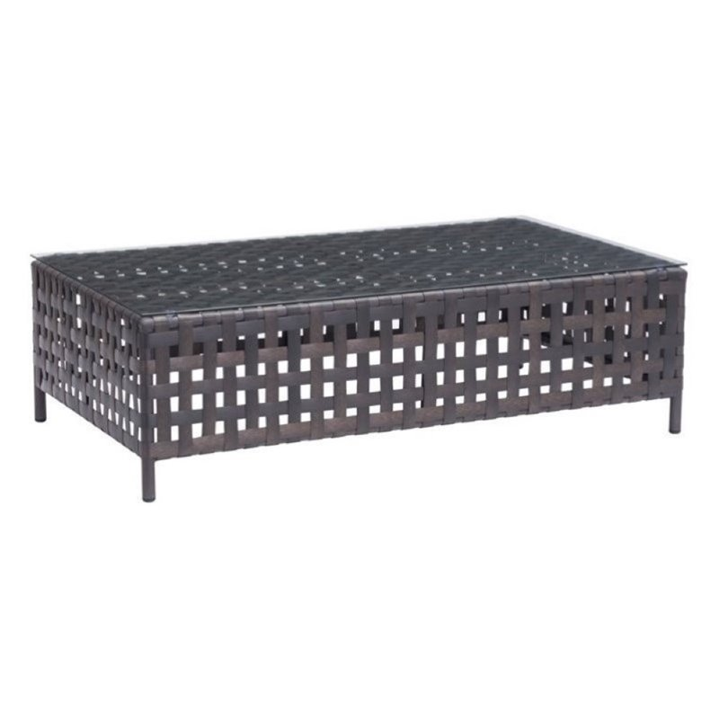 Brika Home Outdoor Glass Coffee Table in Beige