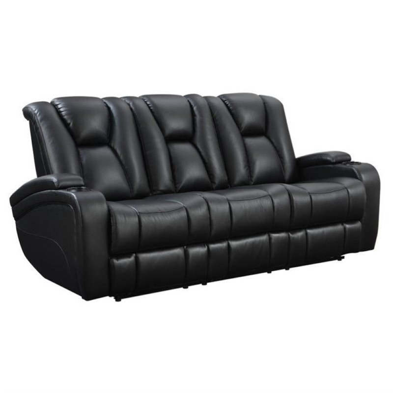 Bowery Hill Faux Leather Power Reclining Sofa in Black