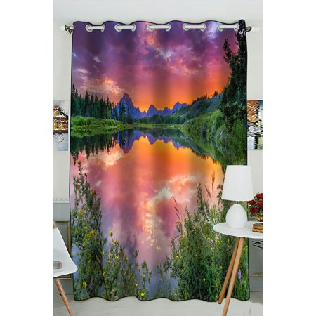 PHFZK Mountain Window Curtain, Colorful Sunset on the Oxbow Bend of the Snake River Window Curtain Blackout Curtain For Bedroom living Room Kitchen Room 52x84 inches One Piece ()