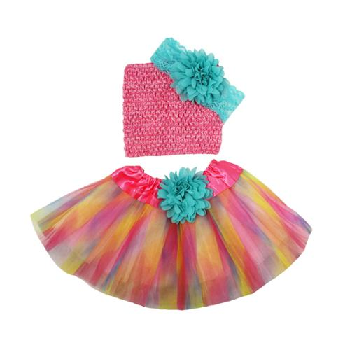 Little Girls Pastel Tutu Skirt Aqua Flower Lace Headband Set 2-8Y