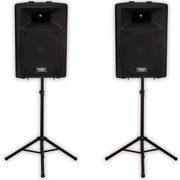 """Podium Pro PP1507A Bluetooth 15"""" Active Speakers and Stands MP3 1800W PP1507ASET1"""