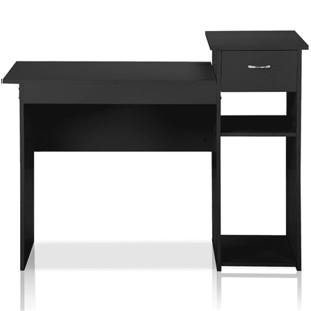 Small Computer Desk Home Office Desk Laptop Table w/Drawer for Small Space Black ()