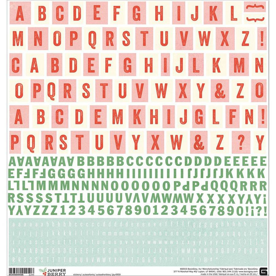 "Juniper Berry Cardstock Stickers, 12"" x 12"", Alphabet"
