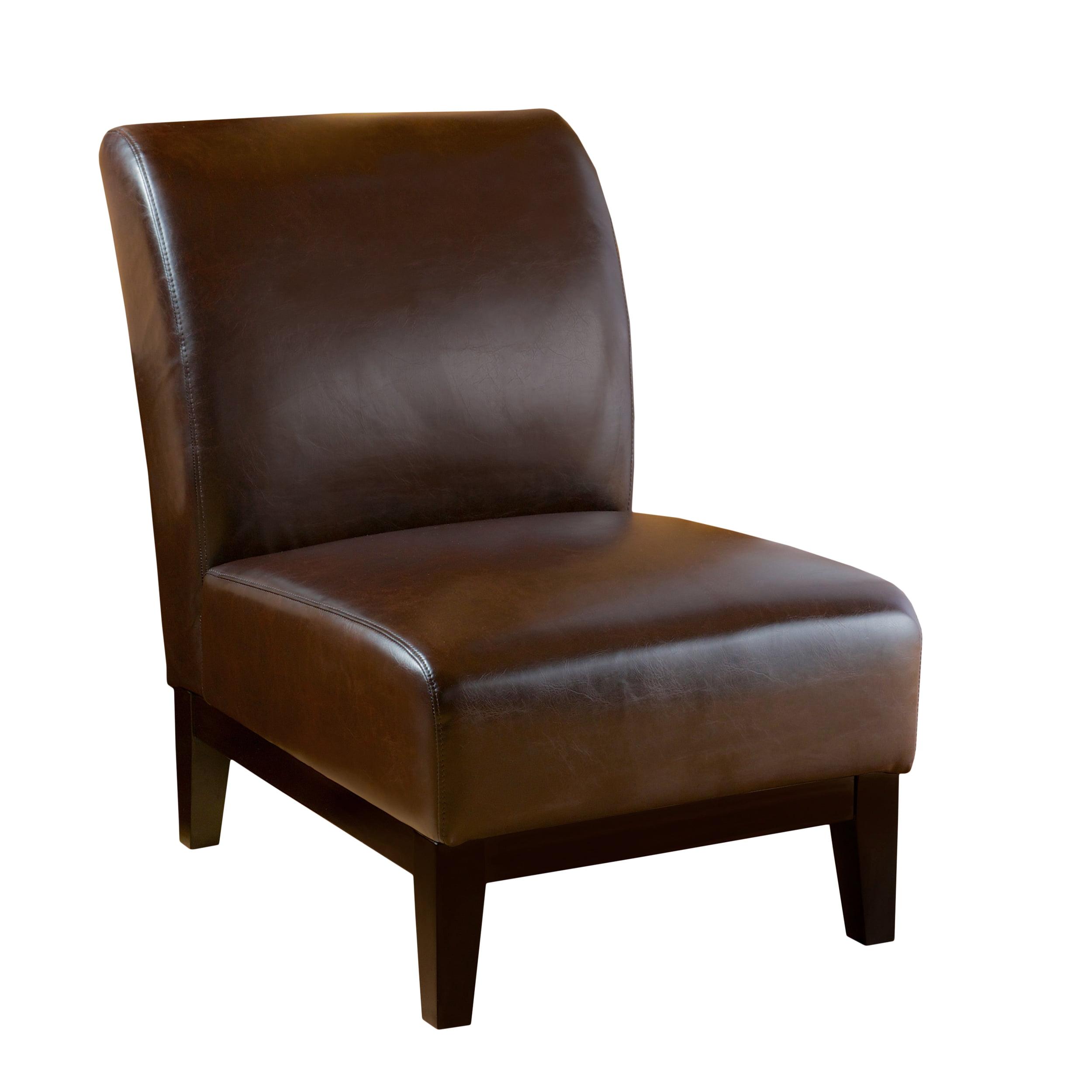 Dakota Brown Bonded Leather Slipper Chair
