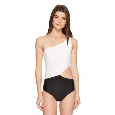 Michael Kors Women One Shoulder Cut-Out One-Piece Swimsuit Black/White