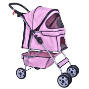 BestPet Pink 4 Wheels Pet Stroller Cat Dog Cage Stroller Travel Folding Carri...