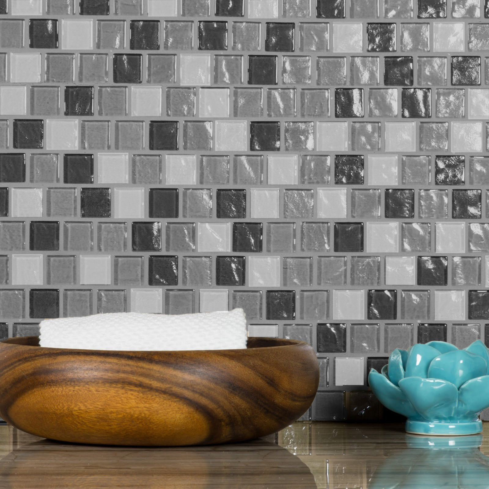 "Abolos- Geo 1"" x 1"" Glass Mosaic Backsplash Tile in Gray (4.9sqft / 5pc Box)"