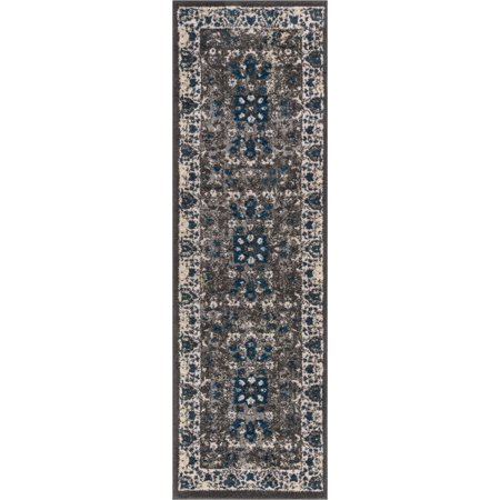 Well Woven Valencia Grey Vintage Medallion Grey Modern Traditional Persian Sarouk 2 x 7 (2'3