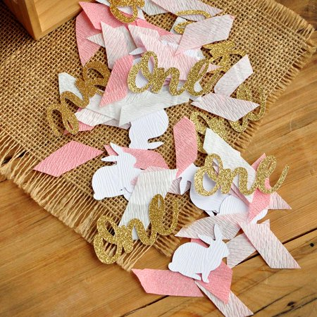 Bunny Birthday Party (Some Bunny is One Confetti. Bunny First Birthday Party Decorations. Pink and Gold Bunny and One)